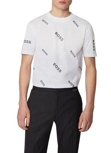 Hugo Boss  Pamuklu Bisiklet Yaka T Shirt Erkek T Shırt 50435774 100 Beyaz
